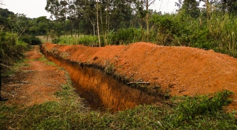 Newly dug elephant trench, Kibale National Park, Uganda, photo credit: Ria Ghai